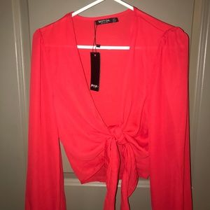 Nasty Gal Red Tie Front Blouse